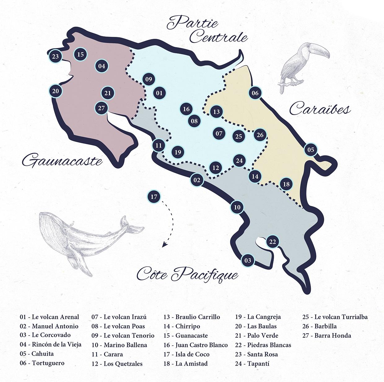 carte parc nationaux Costa Rica