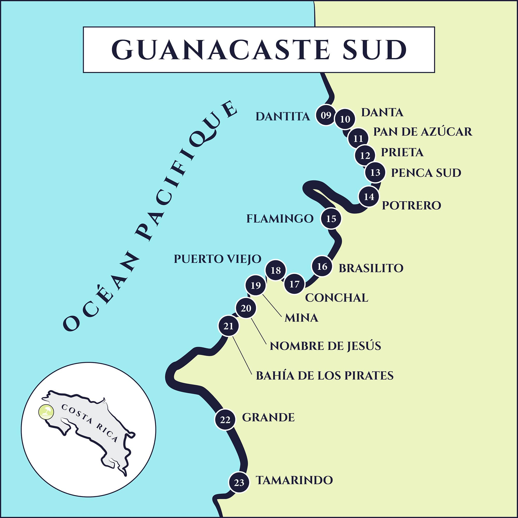carte plages Guanacaste sud
