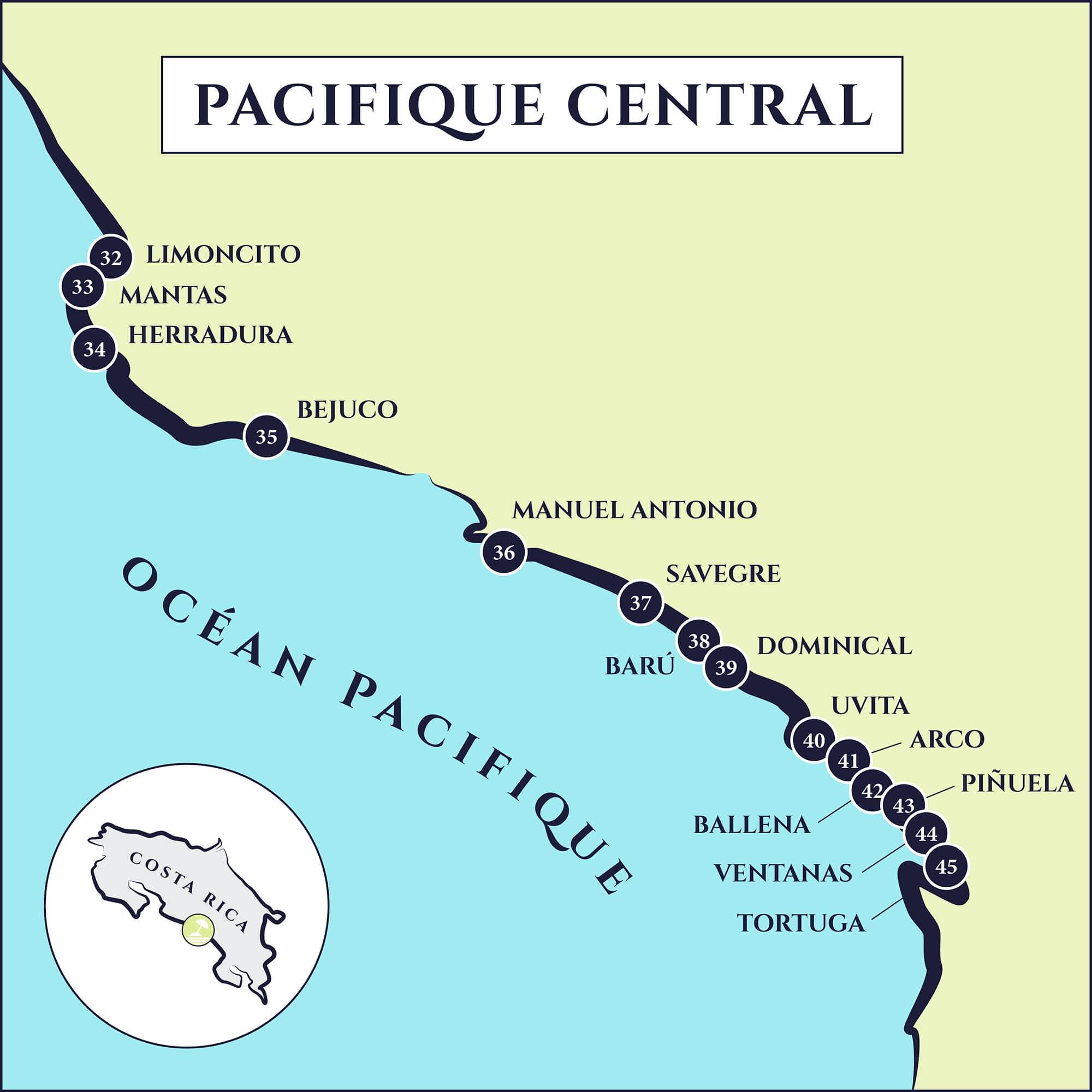 cartes plages Pacifique Central