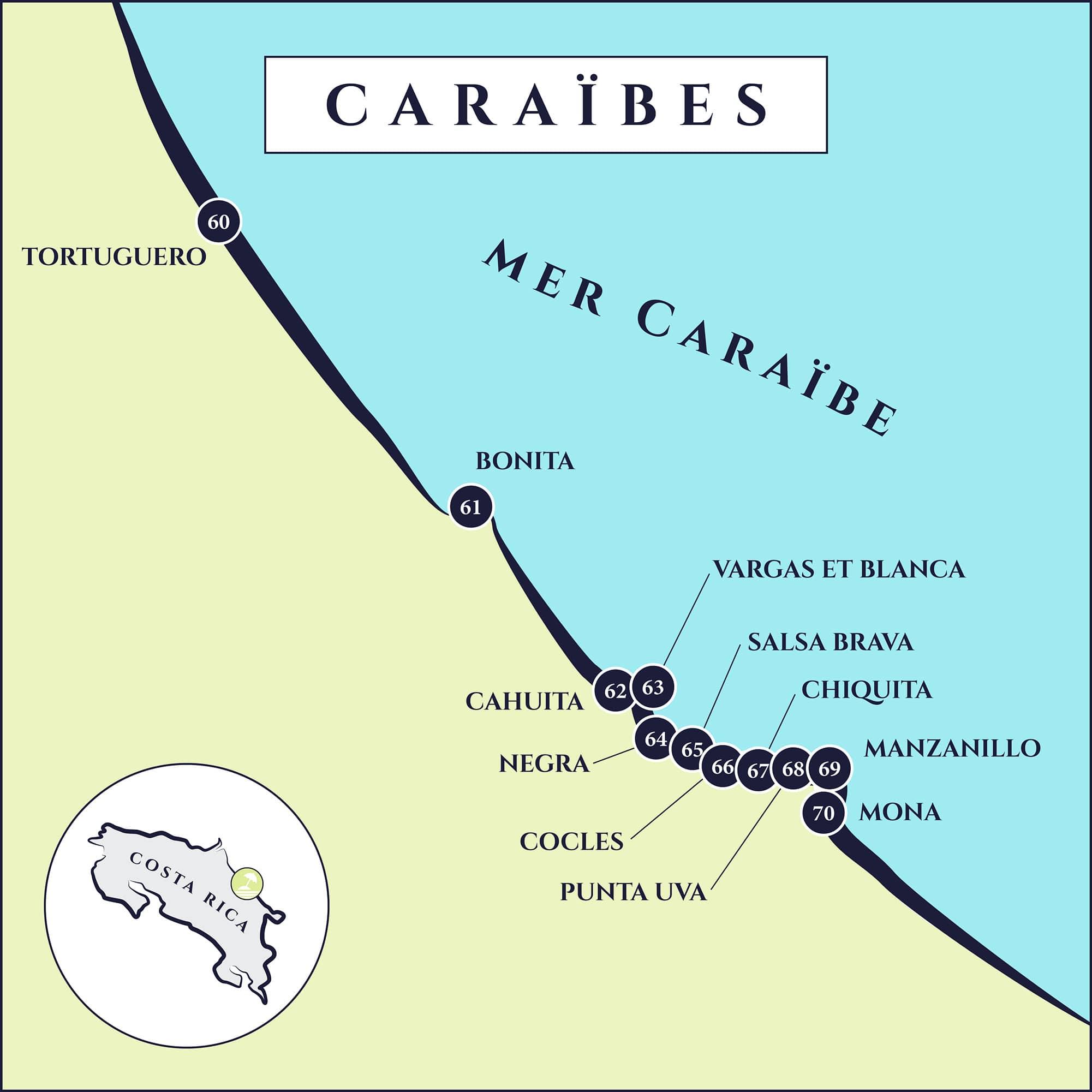 cartes plages Caraïbes