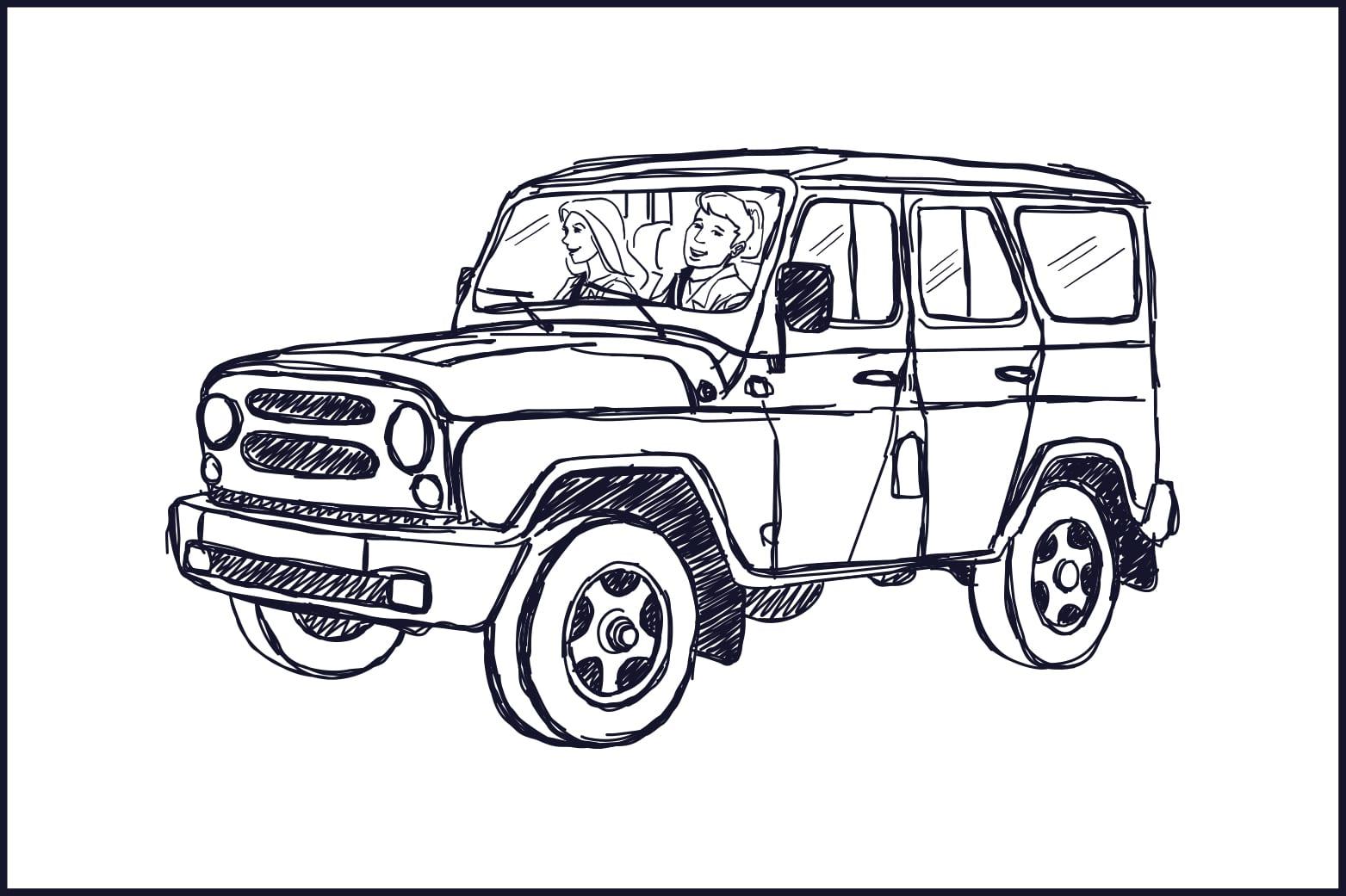 illustration auto tour