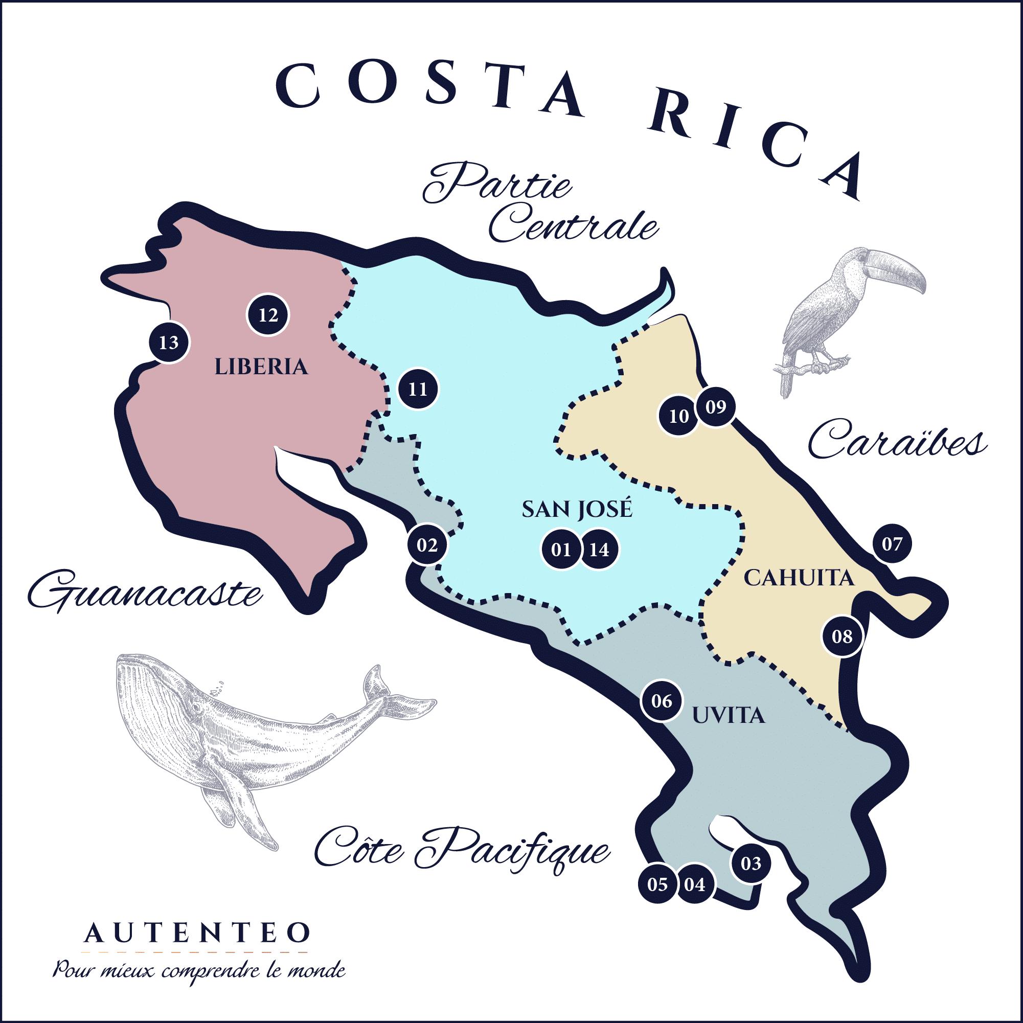 Carte du Circuit 13 jours Costa Rica