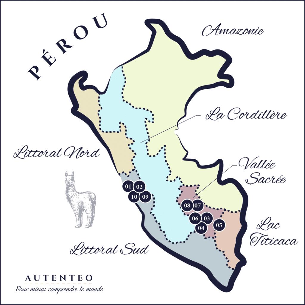 Carte du Circuit 10 Jours Pérou autenthique
