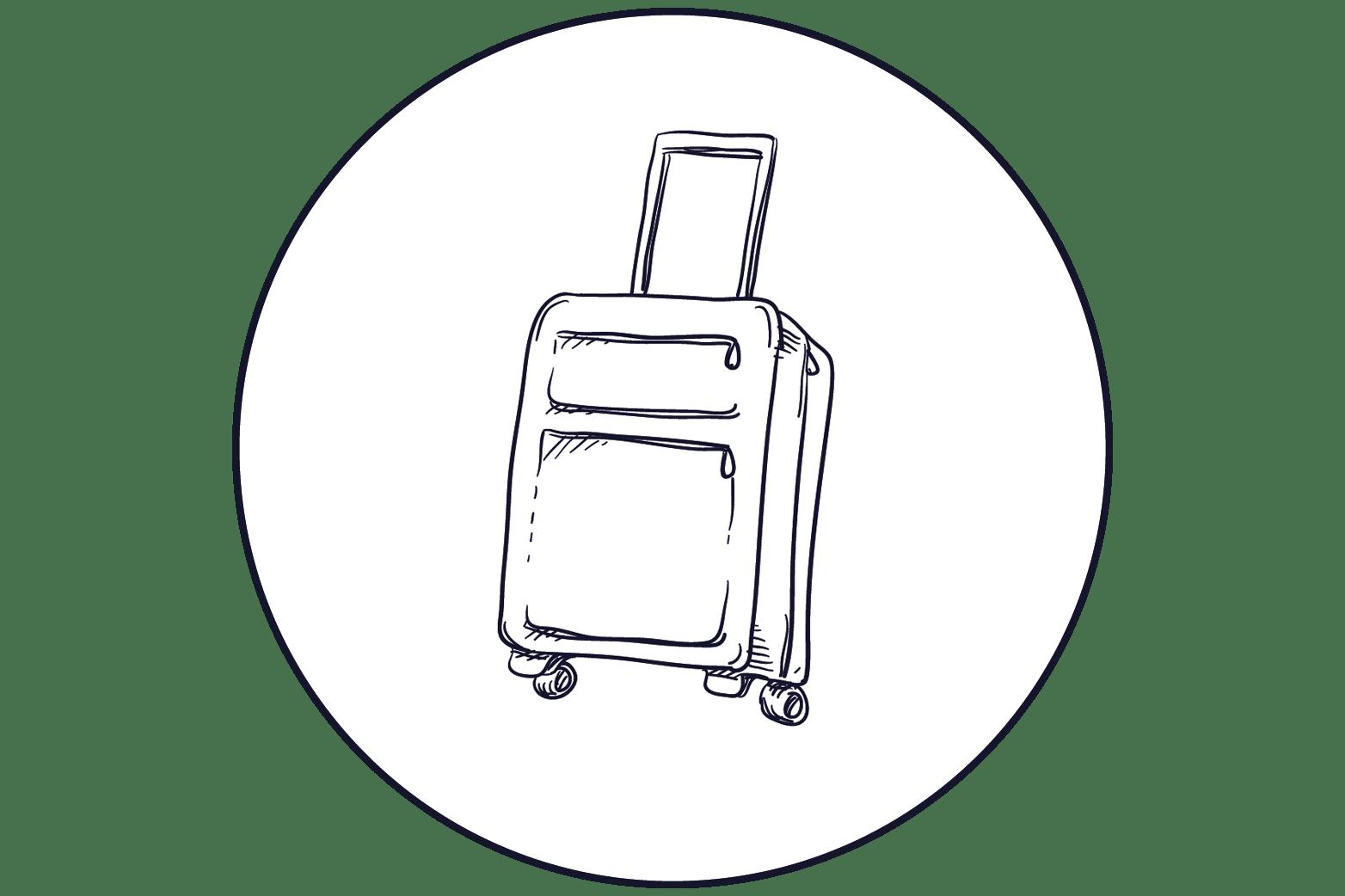illustration valise à roulettes