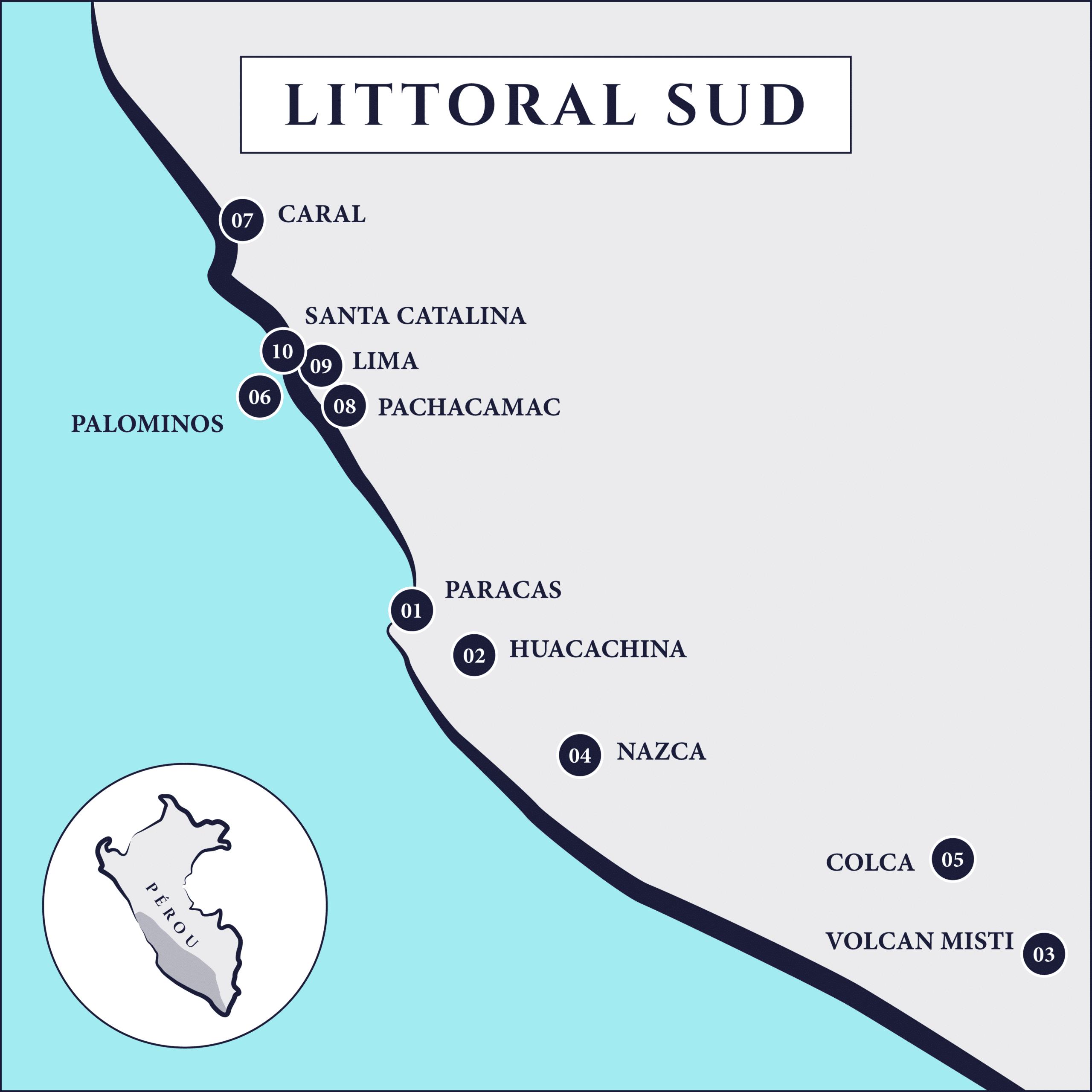carte du littoral sud