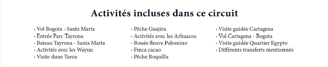liste activités incluses